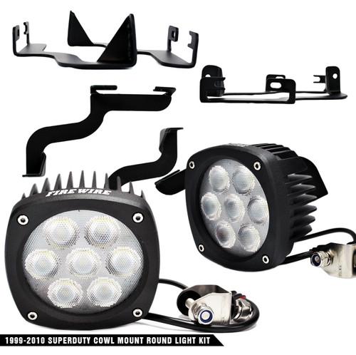1999-2007 Ford Superduty Cowl Mount Round Light Kit (FW-SDRDLK)