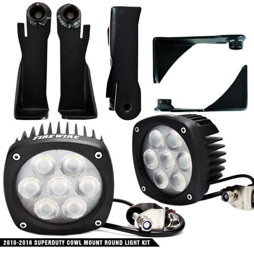 2011-2016 Ford Superduty Cowl Mount Round Light Kit (FW-SDRK)