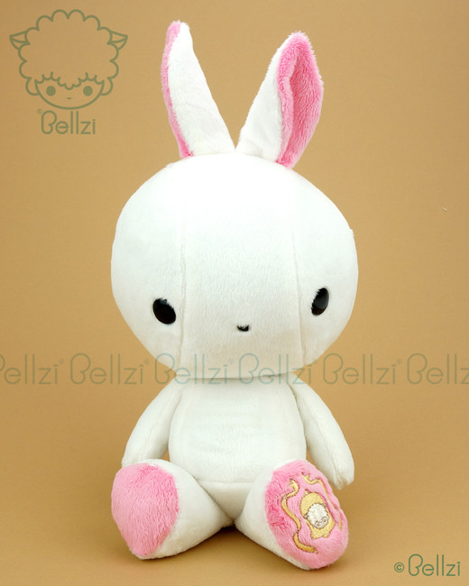 Bunny Rabbit Stuffed Animal Plush Toy - White with Paris Pink