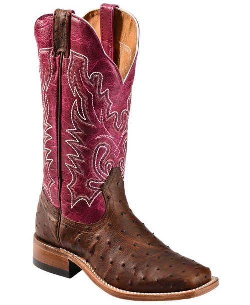 "Boulet Ladies 13"" Leathr Exotc wide toe stockmn heel ostrich skin 3520"