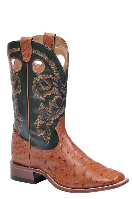 Boulet Mens Western Boots Brandy Ostrich 8522