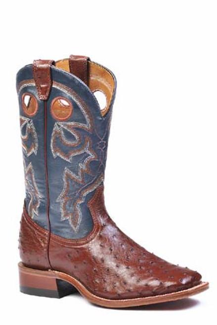 Boulet Mens Western Boots Cigar Ostrich 8523