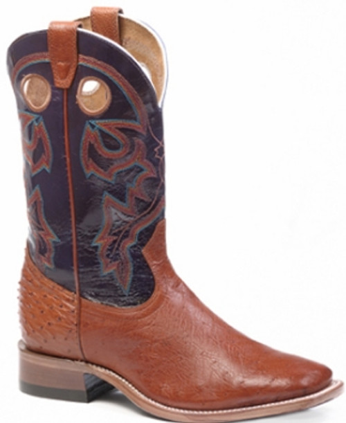 Boulet Mens Western Boots Smooth Brandy Ostrich 9523