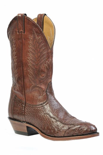 Boulet Mens Western Boots 4 Piece Smooth Cigar Ostrich 1505
