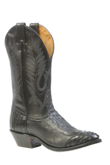 Boulet Mens Western Boots 4 Piece Smooth Black Ostrich 1513