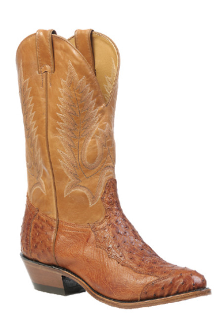 Boulet Mens Western Boots 4 Piece Smooth Brandy Ostrich 1514