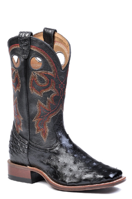 Boulet Mens Western Boots Smooth Black Ostrich Boots 4505