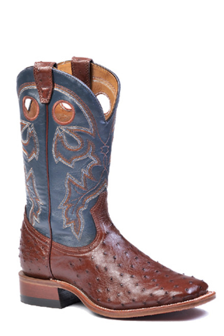Boulet Mens Western Boots Smooth Cigar Ostrich Boots 4506