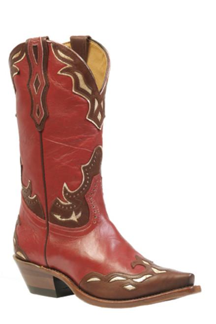 Boulet Ladies Western Boots Deerlite Red Ranger Chestnut Pitoncino Cream