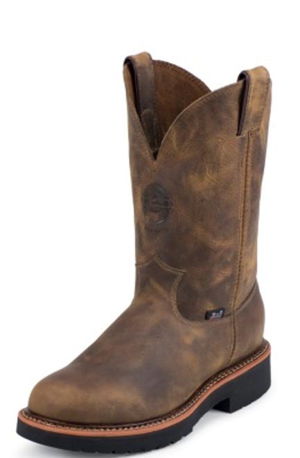 "Justin Mens Boots 4441 11"" BLUEPRINT PULLON TAN GAUCHO STEEL TOE 11"