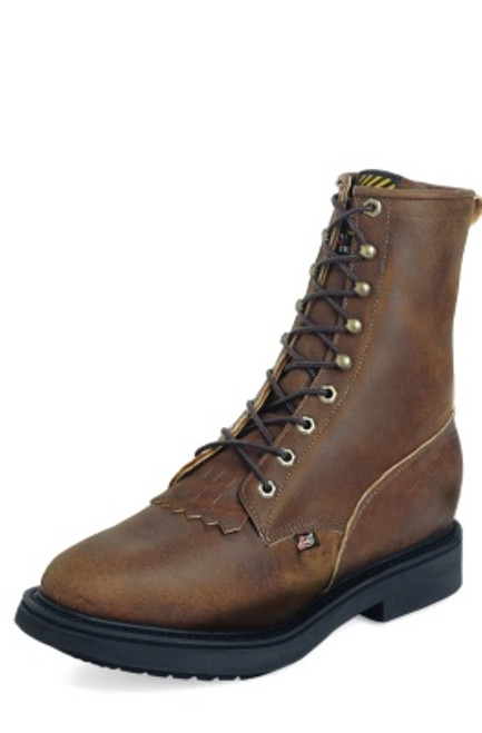 """Justin Mens Boots 760 8"""" CONDUCTOR BROWN 8"""
