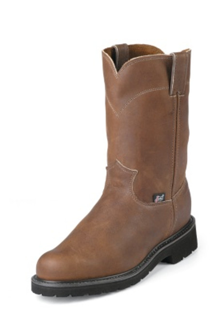 """Justin Mens Boots 4795 10"""" CARGO BROWN PULLON STEEL TOE"""