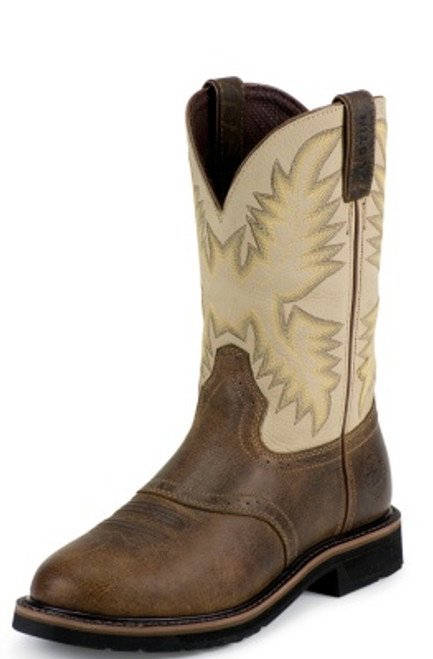 """Justin Mens Boots WK4661 11"""" SUPERINTENDENT CREME STEEL TOE"""