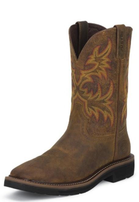 "Justin Mens Boots WK4681 11"" DRILLER TAN SOFT TOE"