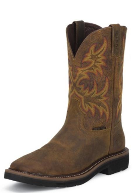 "Justin Mens Boots WK4682 11"" DRILLER TAN STEEL TOE"