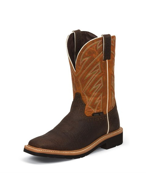Justin Mens Boots WK4561  Electrician Steel Toe Brown