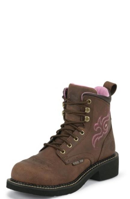 """Justin Ladies Boots WKL991 6"""" AGED BARK STEEL TOE"""