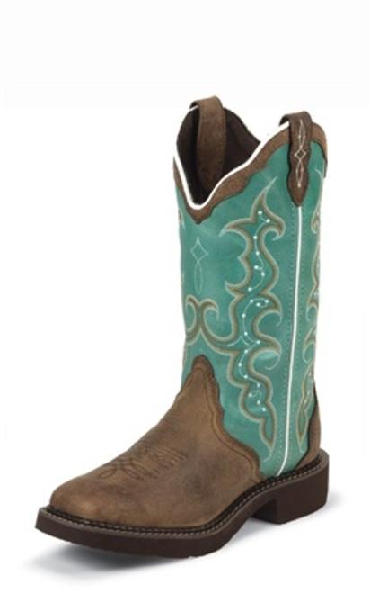 "Justin Ladies Boots L2904 12"" BARNWOOD BROWN COW"