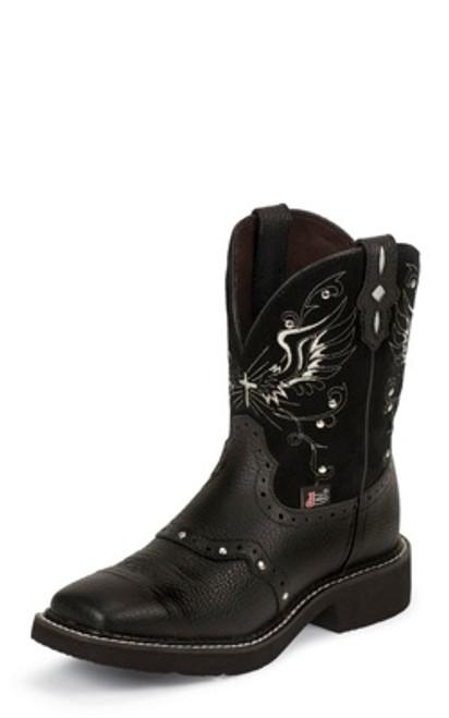 "Justin Ladies Boots L9977 8"" BLACK DEERCOW"