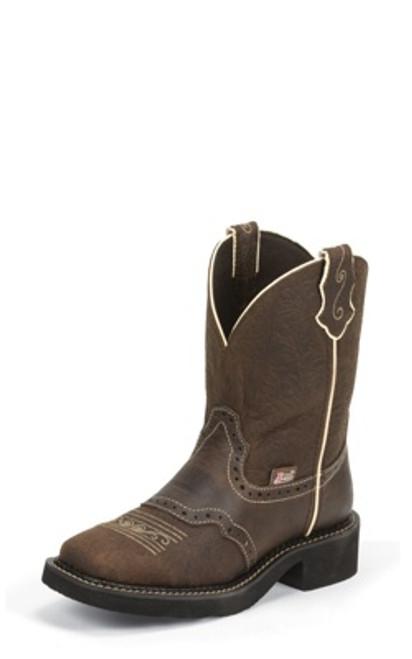 """Justin Ladies Boots L9618 8 Mandra"""" Brown"""