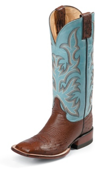 """Justin Ladies Boots L5527 13"""" ANTIQUE BROWN SMOOTH OSTRICH"""