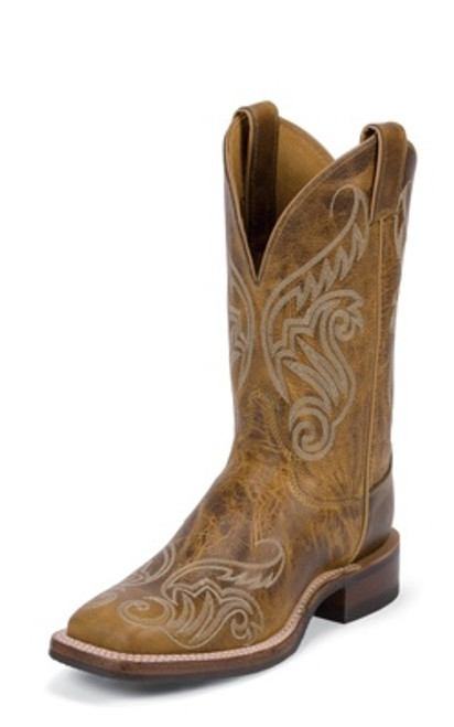 "Justin Ladies Boots BRL212 11"" TAN DAMIANA"