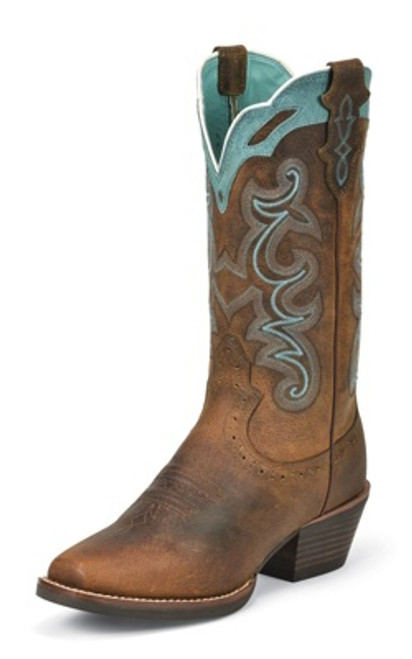 "Justin Ladies Boots SVL7311 12"" RUGGED TAN BUFFALO"