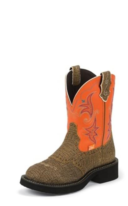 """Justin Ladies Boots L9613 8"""" SAFARI BROWN"""