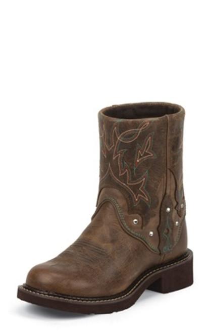 "Justin Ladies Boots L9641 8"" TAN JAGUAR"