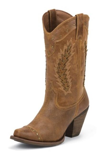 "Justin Ladies Boots SVL4005 11"" TAN DESERT COW"