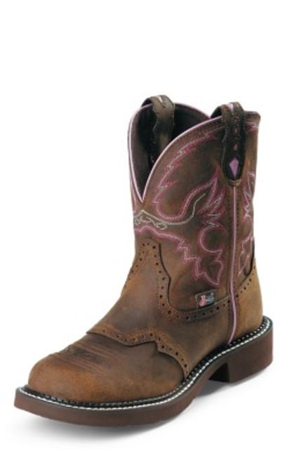 """Justin Ladies Boots WKL9980 8"""" WANETTE BROWN STEEL TOE"""