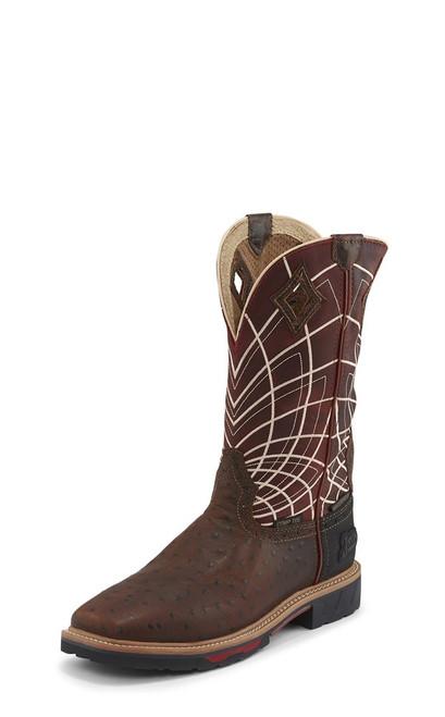 """Justin Mens Boots WK4835 12"""" DERRICKMAN OSTRICH PRINT COMP TOE (WK4835)"""
