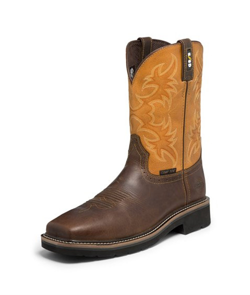 """Justin Mens Boots WK4300 11 Actuator Safety Toe"""" Brown"""
