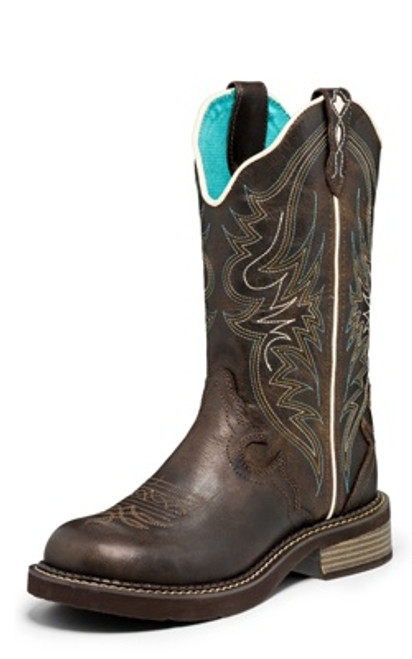 """Justin Ladies Boots L2911 12 Lily"""" Brown"""