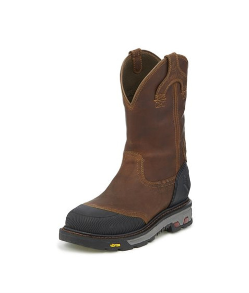 "Justin Mens Boots WK2152 11 Warhawk Nano Comp Toe"" Chestnut"