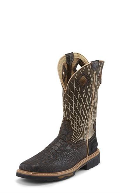 """Justin Mens Boots WK4833 12 Derrickman Comp Toe"""" Brown Croc Print"""