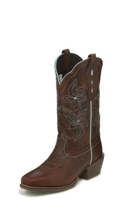 """Justin Ladies Boots L9751 12"""" Arin Brown"""
