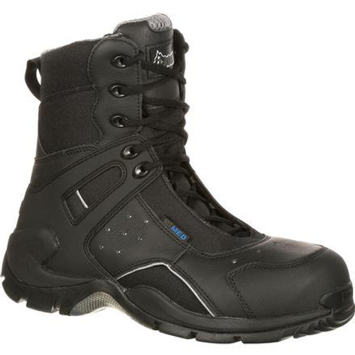 Rocky Mens 1st Med Carbon Fiber Toe Puncture-Resistant Side-Zip Waterproof Public Service Boot FQ0911113 BLACK