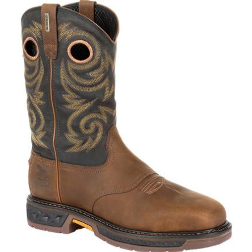 Georgia Boot Mens Carbo-Tec LT Steel Toe Waterproof Pull On Work Boot GB00267 BLACK AND BROWN