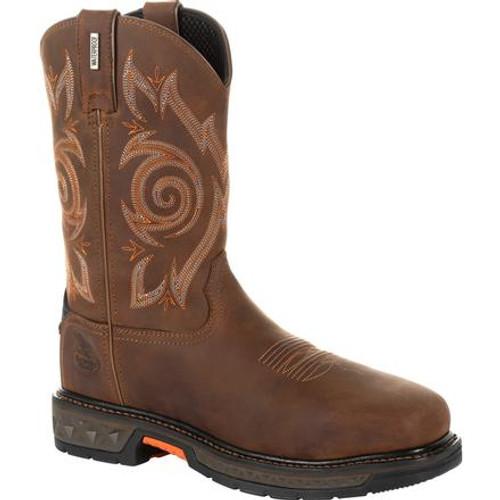 Georgia Boot Mens Carbo-Tec LT Steel Toe Waterproof Pull On Work Boot Mens GB00264 BROWN