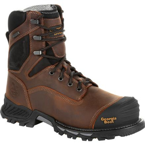 Georgia Boot Mens Rumbler 8inch Composite Toe Waterproof Work Boot GB00285 BLACK AND BROWN