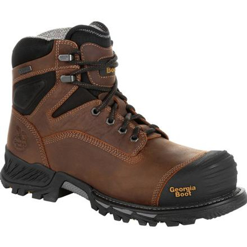 Georgia Boot Mens Rumbler Composite Toe Waterproof Work Boot GB00284 BLACK AND BROWN
