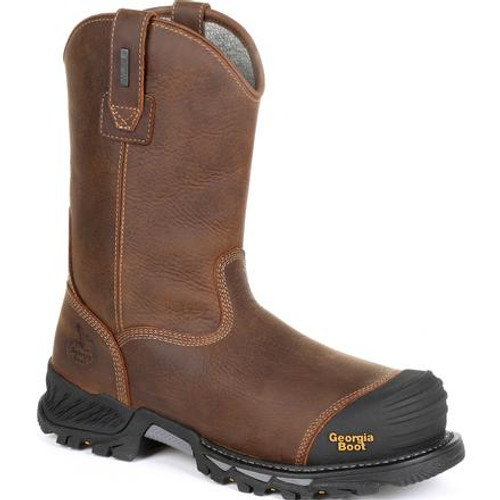 Georgia Boot Mens Rumbler Composite Toe Waterproof Pull-on Work Boot GB00286 BLACK AND BROWN