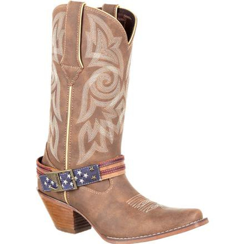 Crush by Durango® Women's Flag Accessory Western Boot DRD0208 BROWN KHAKI