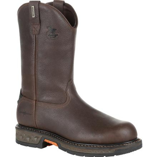 Georgia Boot Mens Carbo-Tec LT Steel Toe Waterproof Pull-On Work Boot GB00310 BROWN