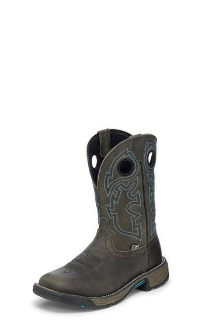 """Justin Mens Boots WK4328 11"""" RUSH MAGNETIC STEEL W/P"""