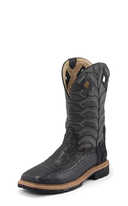 Justin Mens Boots WK4837  Derrickman Comp Toe Charcoal Croc Print