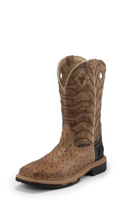"""Justin Mens Boots WK4838 12 Derrickman"""" Caramel Croc Print"""