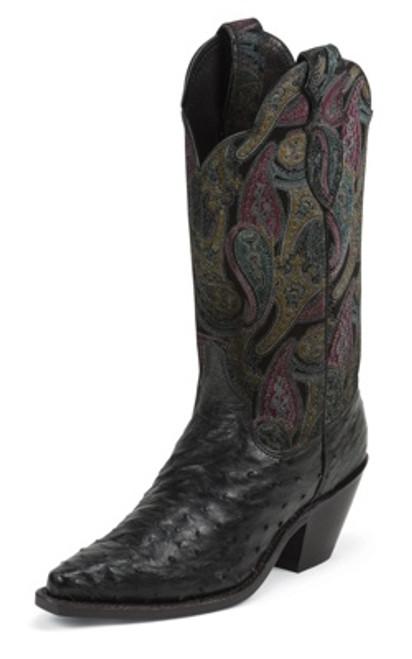 """Justin Ladies Boots L8550 12"""" BLACK FULL QUILL OSTRICH"""