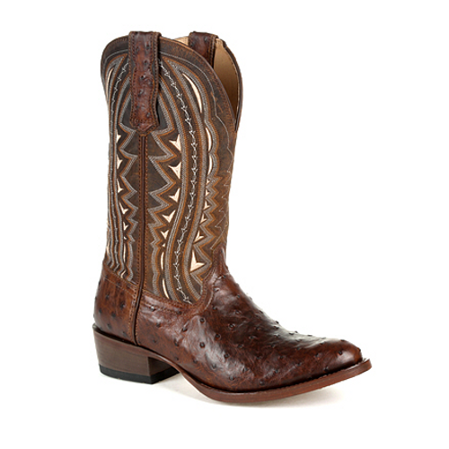 Durango® Mens Premium Exotic Full-Quill Ostrich Oiled Saddle Western Boot DDB0277 OILED SADDLE OSTRICH